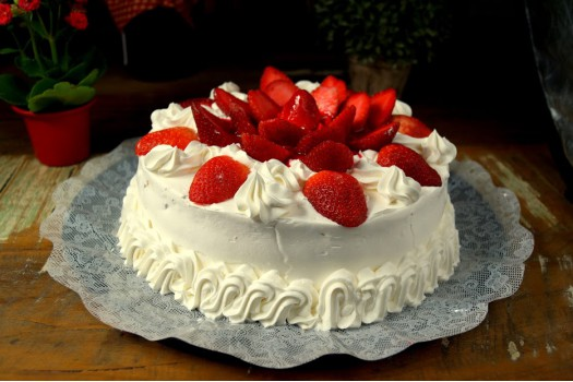 Torta Diet - Morango com chantilly